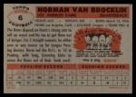1956 Topps #6  Norm Van Brocklin  Back Thumbnail