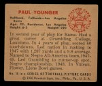 1950 Bowman #15  Paul Younger  Back Thumbnail