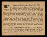 1938 Gum Inc. Horrors of War #107   Japanese Machine-gun Enemy Air Pilot Back Thumbnail