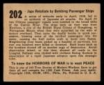 1938 Gum Inc. Horrors of War #202   Japs Retaliate by Bombing Passenger Ships Back Thumbnail