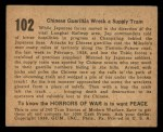 1938 Gum Inc. Horrors of War #102   Chinese Guerillas Wreck Supply Train Back Thumbnail