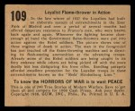 1938 Gum Inc. Horrors of War #109   Loyalist Flame-thrower in Action Back Thumbnail