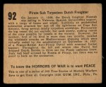 1938 Gum Inc. Horrors of War #92   Pirate Sub Torpedoes Dutch Freighter Back Thumbnail
