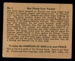 1938 Gum Inc. Horrors of War #4   War Planes Over Tientsin Back Thumbnail