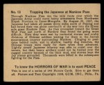 1938 Gum Inc. Horrors of War #13   Trapping the Japanese at Nankow Pass Back Thumbnail