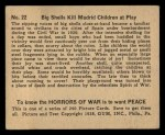 1938 Gum Inc. Horrors of War #22   Big Shells Kill Madrid Children at Play Back Thumbnail