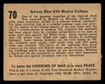 1938 Gum Inc. Horrors of War #70   Subway Blast Kills Madrid Civilians Back Thumbnail
