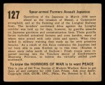 1938 Gum Inc. Horrors of War #127   Spear-armed Farmers Assault Japanese Back Thumbnail