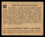 1938 Gum Inc. Horrors of War #92   Pirate Sub Torpedoes Dutch Freighter Back Thumbnail