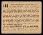 1938 Gum Inc. Horrors of War #143   Itallians Bomb Red Cross Unit at Kworam Back Thumbnail