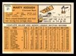 1963 Topps #21 *YEL* Marty Keough  Back Thumbnail
