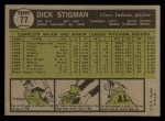 1961 Topps #77  Dick Stigman  Back Thumbnail