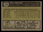 1961 Topps #118  Chris Cannizzaro  Back Thumbnail