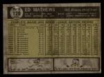 1961 Topps #120  Eddie Mathews  Back Thumbnail