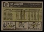 1961 Topps #291  Tex Clevenger  Back Thumbnail