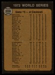 1973 Topps #208   -  Johnny Bench / Denis Menke / Bobby Tolan 1972 World Series - Game #6 - Reds' Slugging Ties Series Back Thumbnail