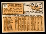 1963 Topps #219  Chuck Cottier  Back Thumbnail