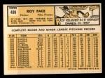 1963 Topps #409 xTOU Roy Face  Back Thumbnail