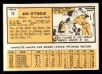 1963 Topps #70  Jim O'Toole  Back Thumbnail