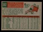 1959 Topps #302  Don Mossi  Back Thumbnail