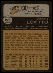 1973 Topps #276  Joe Lovitto  Back Thumbnail