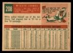 1959 Topps #208  Willie Jones  Back Thumbnail