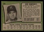 1971 Topps #236  Bob Humphreys  Back Thumbnail