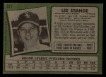1971 Topps #311  Lee Stange  Back Thumbnail