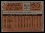 1972 Topps #215  Alex Johnson  Back Thumbnail