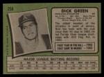 1971 Topps #258  Dick Green  Back Thumbnail