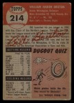 1953 Topps #214  Billy Bruton  Back Thumbnail