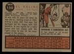 1962 Topps #150 A Al Kaline  Back Thumbnail