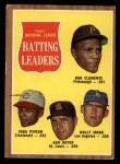 1962 Topps #52   -  Roberto Clemente / Vada Pinson / Ken Boyer / Wally Moon NL Batting Leaders Front Thumbnail