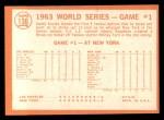 1964 Topps #136   -  Sandy Koufax 1963 World Series - Game #1 - Koufax Strikes Out 15  Back Thumbnail