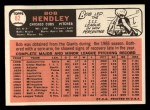 1966 Topps #82  Bob Hendley  Back Thumbnail