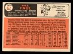 1966 Topps #322  Bill Faul  Back Thumbnail