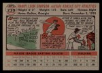 1956 Topps #239  Harry Simpson  Back Thumbnail