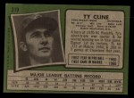 1971 Topps #319  Ty Cline  Back Thumbnail