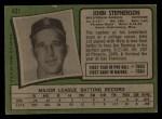 1971 Topps #421  John Stephenson  Back Thumbnail