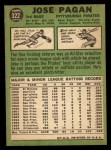 1967 Topps #322  Jose Pagan  Back Thumbnail