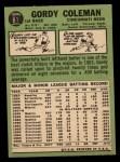 1967 Topps #61  Gordy Coleman  Back Thumbnail