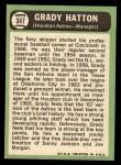 1967 Topps #347  Grady Hatton  Back Thumbnail