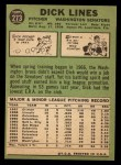 1967 Topps #273  Dick Lines  Back Thumbnail