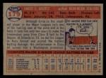 1957 Topps #179  Ernie Oravetz  Back Thumbnail