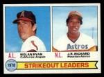 1979 Topps #6   -  J.R. Richard / Nolan Ryan Strikeout Leaders   Front Thumbnail