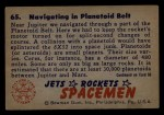 1951 Bowman Jets Rockets and Spacemen #65   Navigating in Planetoid Belt Back Thumbnail
