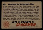 1951 Bowman Jets Rockets and Spacemen #86   Menaced by Vegetable Men Back Thumbnail