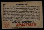 1951 Bowman Jets Rockets and Spacemen #28   Martian City Back Thumbnail