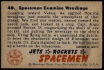 1951 Bowman Jets Rockets and Spacemen #40   Spacemen Examine Wreckage Back Thumbnail