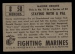 1953 Topps Fighting Marines #58   Staying With Pal Back Thumbnail